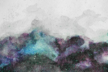 Photo for Universe painting with purple and green watercolor paints on white background - Royalty Free Image