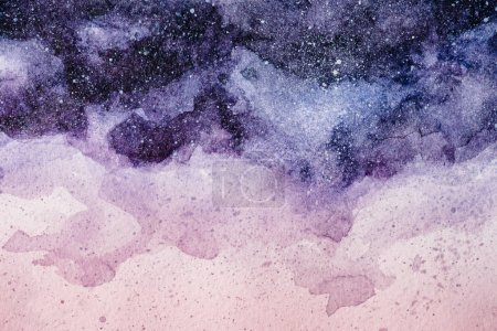 Photo for Full frame image of night sky painting with purple and pink watercolor paints background - Royalty Free Image