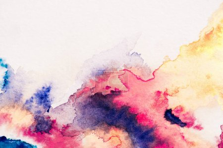 Photo for Abstract painting with red, yellow and blue watercolor paints on white background - Royalty Free Image