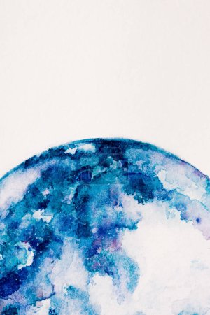 partial view of planet made of blue watercolor paint on white background