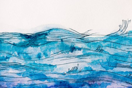 sea waves made by blue watercolor paint on white background
