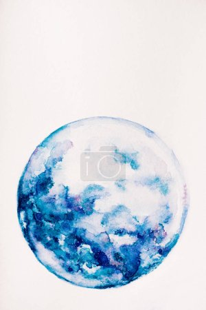 planet made of blue watercolor paint on white background