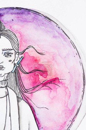 Foto de Vista parcial de la pintura de mujer sobre fondo de esfera de pintura acuarela roja - Imagen libre de derechos