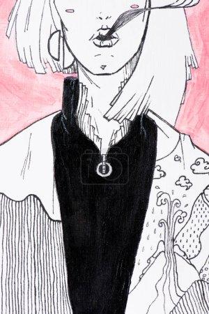 Teilansicht der Schwarz-Weiß-Malerei der Frau auf rosa Hintergrund