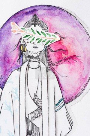 Foto de Pintura de mujer con los ojos cubiertos por pintura de hojas en el fondo de la esfera de acuarela pintura roja - Imagen libre de derechos