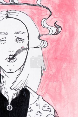 close up view of black and white painting of woman with smoke coming from mouth on pink background