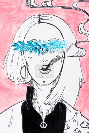 black and white painting of woman with smoke coming from mouth and eyes covered by painting of blue leaves on pink background