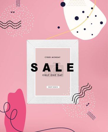 blackboard in white frame with cyber monday sale isolated on pink