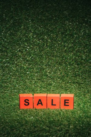 red alphabet blocks with sale sign for black friday on green grass