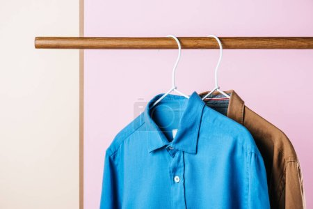 casual shirts on hangers, fashion industry