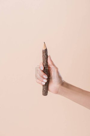 cropped shot of woman holding pencil made of stick isolated on beige