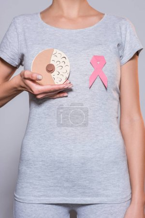 partial view of woman with paper made female breast and cancer awareness pink ribbon on grey background