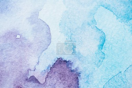 Photo for Handmade light blue and purple watercolor background - Royalty Free Image