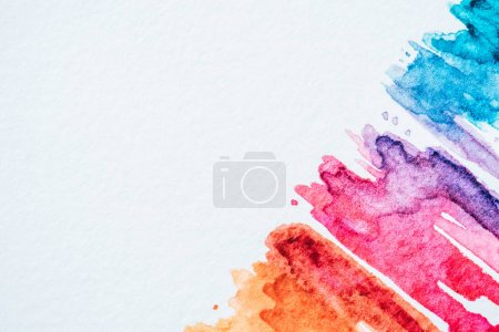 Photo for Artistic colorful watercolor strokes on white paper background - Royalty Free Image