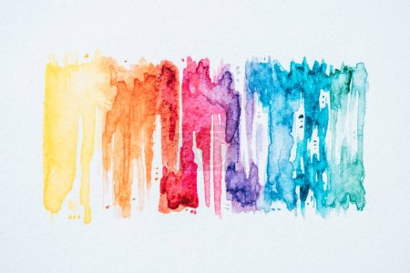 abstract colorful watercolor strokes on white paper texture