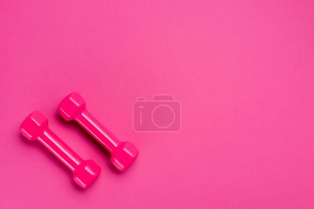 top shot of two dumbbells on pink background with copy space