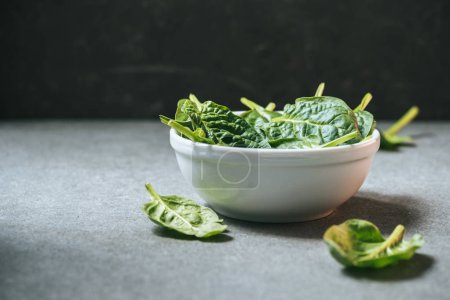 Photo for Vegetarian spinach leaves in white bowl on grey background - Royalty Free Image