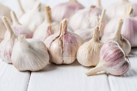 Photo for Bulbs of garlic on white rustic wood table - Royalty Free Image