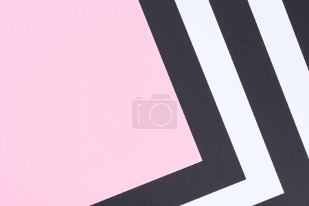 geometric modern white, pink and black abstract background with copy space