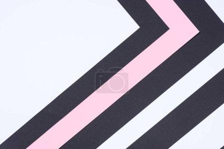 Photo pour Simple fond abstrait moderne blanc, rose et noir avec espace de copie - image libre de droit