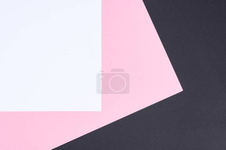 simple modern white, pink and black abstract background with copy space
