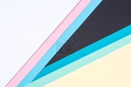 simple modern blue, pink, yellow, white and black abstract background with copy space