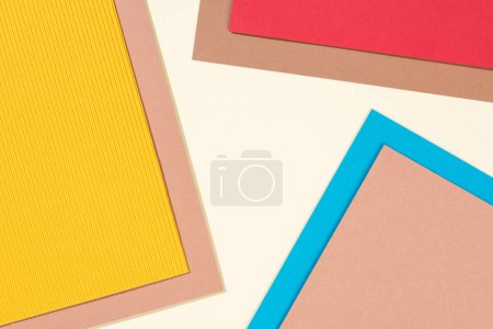 simple modern, blue, red, yellow and beige background with copy space