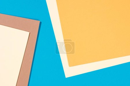 Photo for Simple modern, blue, yellow and beige abstract background with copy space - Royalty Free Image