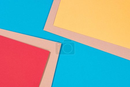 abstract modern, blue, yellow, red and beige abstract background with copy space