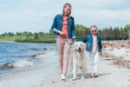 beautiful family walking with dog on sea shore