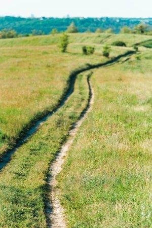 vue panoramique du paysage rural avec chemin d'accès à travers la Prairie herbeuse