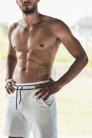 Photo for Cropped shot of muscular shirtless young man - Royalty Free Image