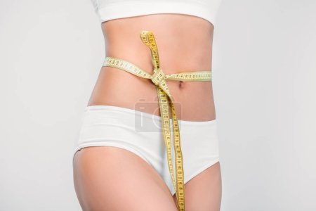 partial view of slim girl in white underwear with measuring tape on waistline, isolated on grey