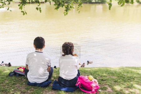 rear view of schoolchildren sitting on lake bank and feeding ducks