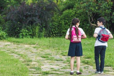 Photo pour Vue arrière des écoliers à pied par sentier dans le parc ensemble - image libre de droit