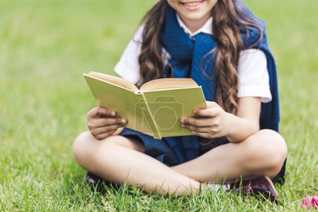 cropped shot of smiling schoolgirl with book sitting on grass in park
