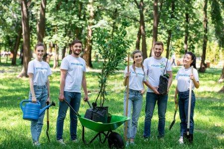 Photo pour Amis bénévolat et plantation d'arbres dans le parc ensemble - image libre de droit