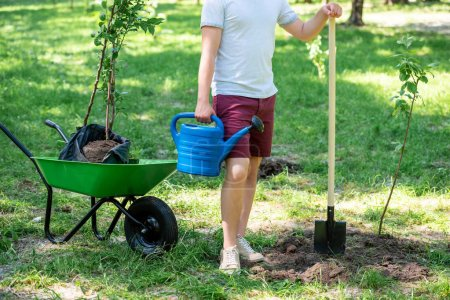 cropped view of man with watering can and shovel standing planting new trees