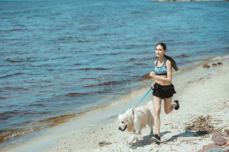 young asian sportswoman running with golden retriever near sea