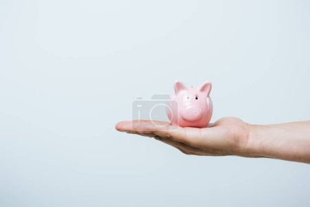cropped image of man holding pink piggybank isolated on grey