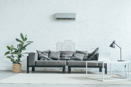 Photo for Empty room with grey sofa, ficus, laptop on table and air conditioner on white wall - Royalty Free Image