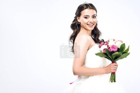 beautiful young bride in wedding dress with bouquet isolated on white