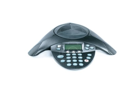close-up shot of black speakerphone isolated on white