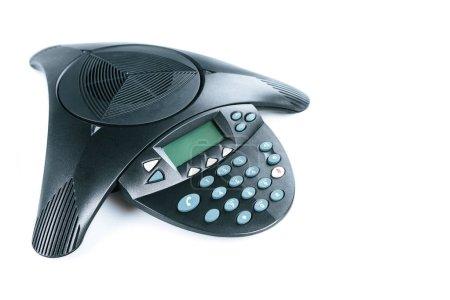 close-up shot of modern speakerphone isolated on white