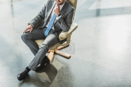 cropped shot of handsome businessman sitting on luxury armchair at modern office