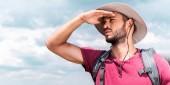 """Постер, картина, фотообои """"красивый мужчина путешественника в шляпе глядя"""""""