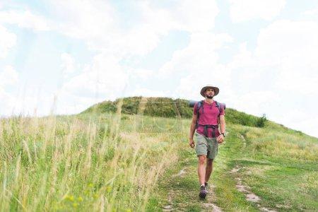Photo pour Beau randonneur avec sac à dos marchant sur prairie verte - image libre de droit
