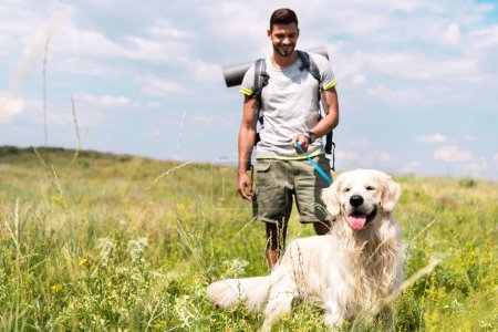 male traveler walking with golden retriever dog on summer meadow with cloudy sky