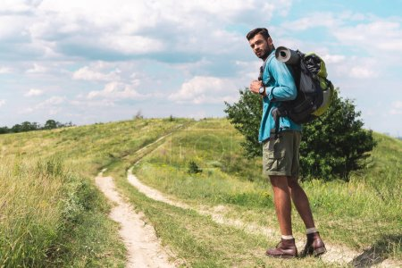 Photo for Handsome hiker with backpack walking on green meadow - Royalty Free Image