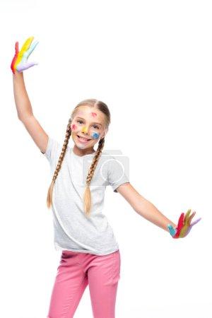 Foto de Sonrisa permanente del alumno con los brazos abiertos pintados aislados en blanco - Imagen libre de derechos